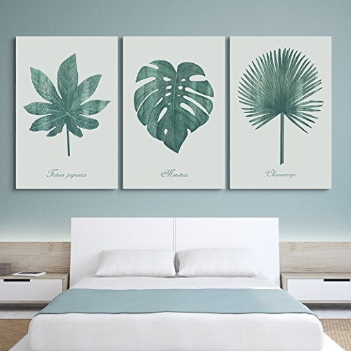 3 Panel Retro Style Large Green Tropical Leaves x 3 Panels