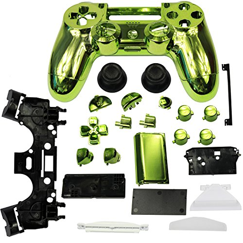 abcGOODefg® Replacement Housing Chrome Full Housing Shell Case Skin + button for PS 4 (Green)