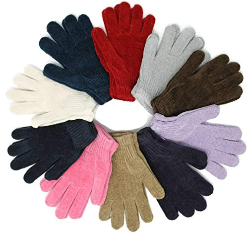 Wholesale Unisex Adults Size Large Magic Knit Soft Chenille Gloves One-Size Warm Assorted 12 Pair 1 Dozen (Chenille Large)