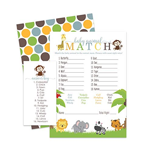Jungle Animal Match Game - Baby Shower or Party - 25 Pack -