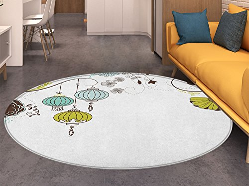 Lantern Round Area Rug Carpet Abstract Expression of Coming of New Year in China Vibrant Colors Living Dinning Room and Bedroom Rugs Apple Green Sky Blue White ()