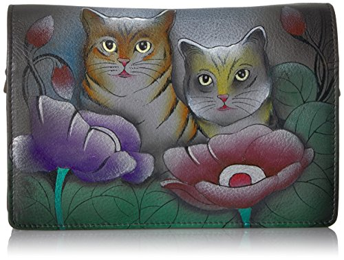 Anna by Anuschka Two Fold Wallet/Clutch On a String | Two Cats Grey