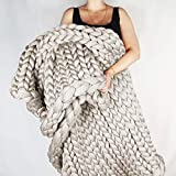 incarpo Chunky Knit Blanket Handwoven Wool Yarn Knitting Throw Bed Sofa Super Warm Home Decor Beige 24