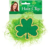 "Giant Sequined Felt and Feather Shamrock Hair Clip St. Patrick's Day Costume Party Accessory Favour (1 Piece), Green, 4"" x 4""."