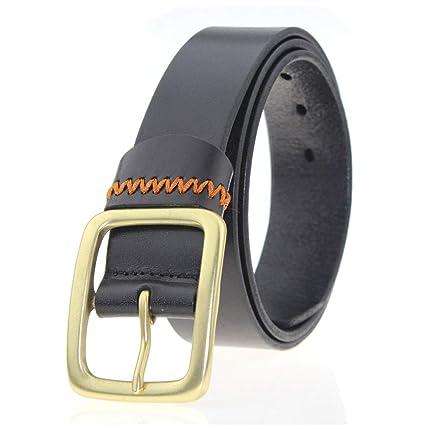 d626e78648b9 Shirleyle Cinturón de Jean Casual para Hombres Cinturón de Cuero para  Hombres con Hebilla de Cobre