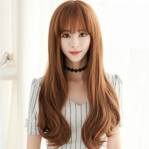 Suuny Queen 1PC Women Long Loght Brown Wig Wave Synthetic Wigs Highlighted Kanekalon Fiber For Blonde Brown European Jewish Kosher Fashion Wig