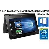 HP X360 11-AB011DX 11.6-Inch Touchscreen 2-in-1 Convertible Premium HD Laptop (Intel celeron N3060, 4GB RAM, 32GB eMMC, Windows 10 Home) Black