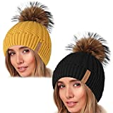 Winter Beanie Hats for Women FURTALK Womens Warm Knit Fur Bobble Pom Pom Hat (Black Yellow)