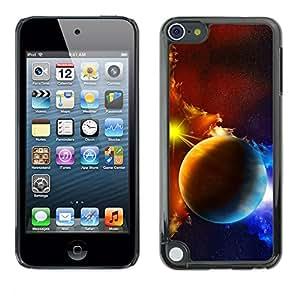 QCASE / Apple iPod Touch 5 / planetas nubes de gas de galaxias sol estrella azul amarillo / Delgado Negro Plástico caso cubierta Shell Armor Funda Case Cover