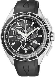 Citizen AT0956-09E - Reloj analógico de cuarzo para hombre con correa de caucho, color negro