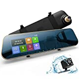 """DuDuBell Mirror Dash Cam, 4.3"""" Touch Screen Car Dash Cam 1080P 290° Wide Angle Mirror DVR, Dual Dashboard Recorder 6G HDR Night Vision Front Cam IP 68 Waterproof LED Rear Backup Cam"""