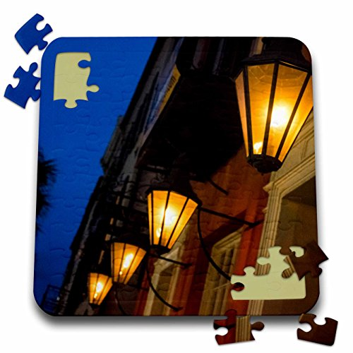 (Danita Delimont - Charleston - Lamps lining the streets at duck, Charleston, South Carolina. USA - 10x10 Inch Puzzle)