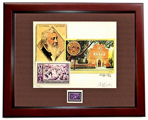 Christopher Paluso Signed - Autographed Baseball Centenntial Lithograph - MAHOGANY Custom Frame with Original 3 cent Unused Postage Stamp - Hall of Fame - Limited Edition