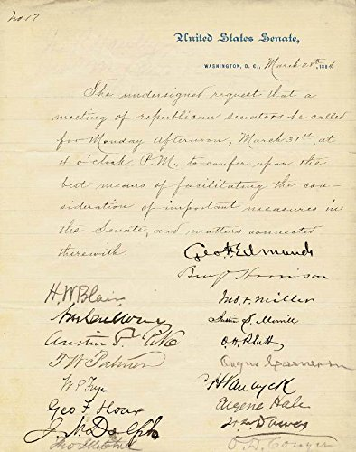 President Benjamin Harrison - Manuscript Document Signed 03/28/1884 with co-signers