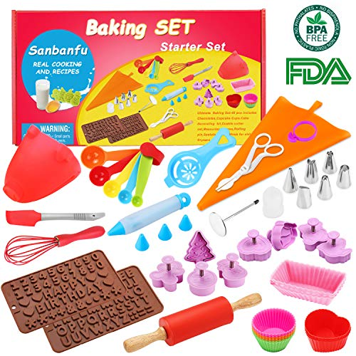 Kids Baking Set Real Cupcake Baking Supplies Silicone Cake Decorating Kit,Perfect for Girls Teens Toddlers Beginners ()