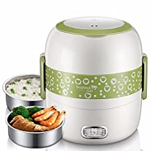 KHSKX-Double Electric Boxes Can Be Inserted Electric Heating Lunch Box Mini Steamer Cooking Hot Meals For Lunch