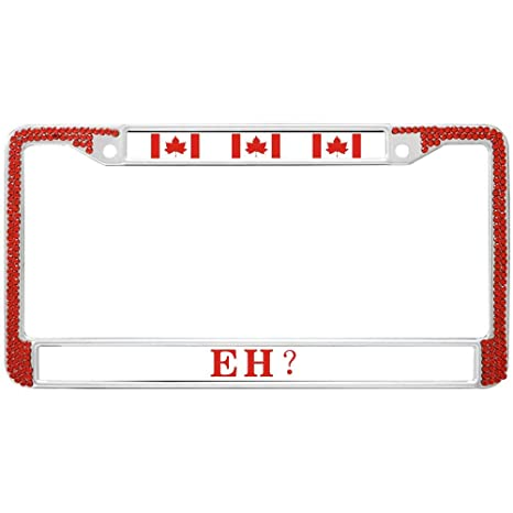 af67602b1b6 GND Canada Flag Rhinestone License Plate Frame Clear Crystal Auto License  Plate Frames Red Bling Luxury