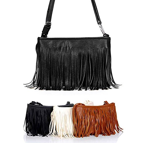 Beige GMYAN Women's Tassel Black Brown Crossbody Bag Black Bags PU HqwA1Tq