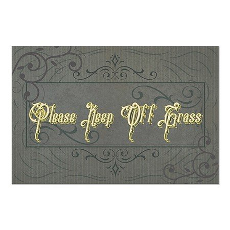 CGSignLab | ''Please Keep Off Grass -Victorian Frame'' Repositionable Opaque White 1st Surface Static-Cling Non-Adhesive Window Decal (5-Pack) | 36''x24'' by CGSignLab