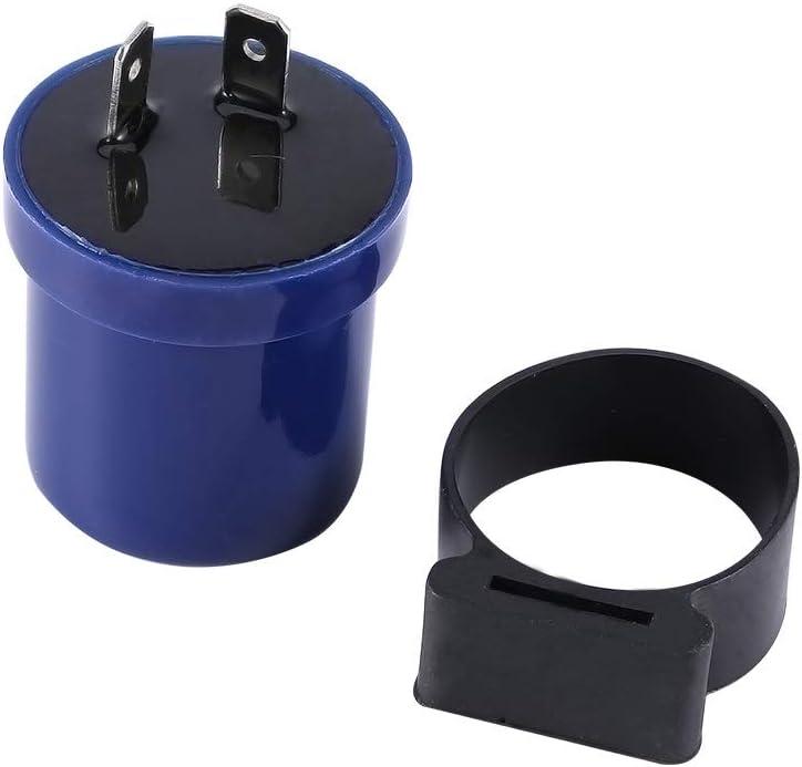 Pin Otorcycle Indicatore rel/è lampeggiatore Plastica ABS e metallo Plug and Play Rel/è lampeggiatore moto blu BiuZi 6V-12V 8W Rel/è flash per cicalino moto