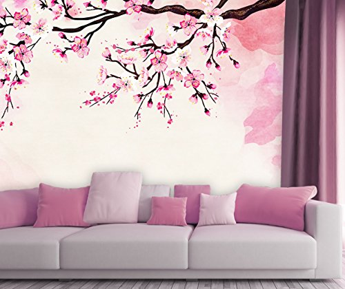 Large Wall Mural Watercolor Style Ink Painting Pink Cherry Blossom Vinyl Wallpaper Removable Wall Decor
