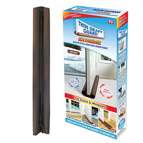 - Twin Draft Guard Energy Saving Under Door Draft Stopper, Single, Brown