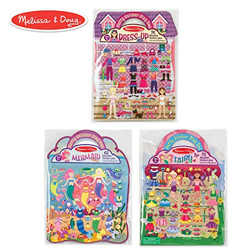 Melissa & Doug Puffy Sticker Play Set 3-Pack, Dress-Up, Mermaid, Fairy Reusable Sticker Activity Pads (Double-Sided Background, Includes Puffy Stickers) ()