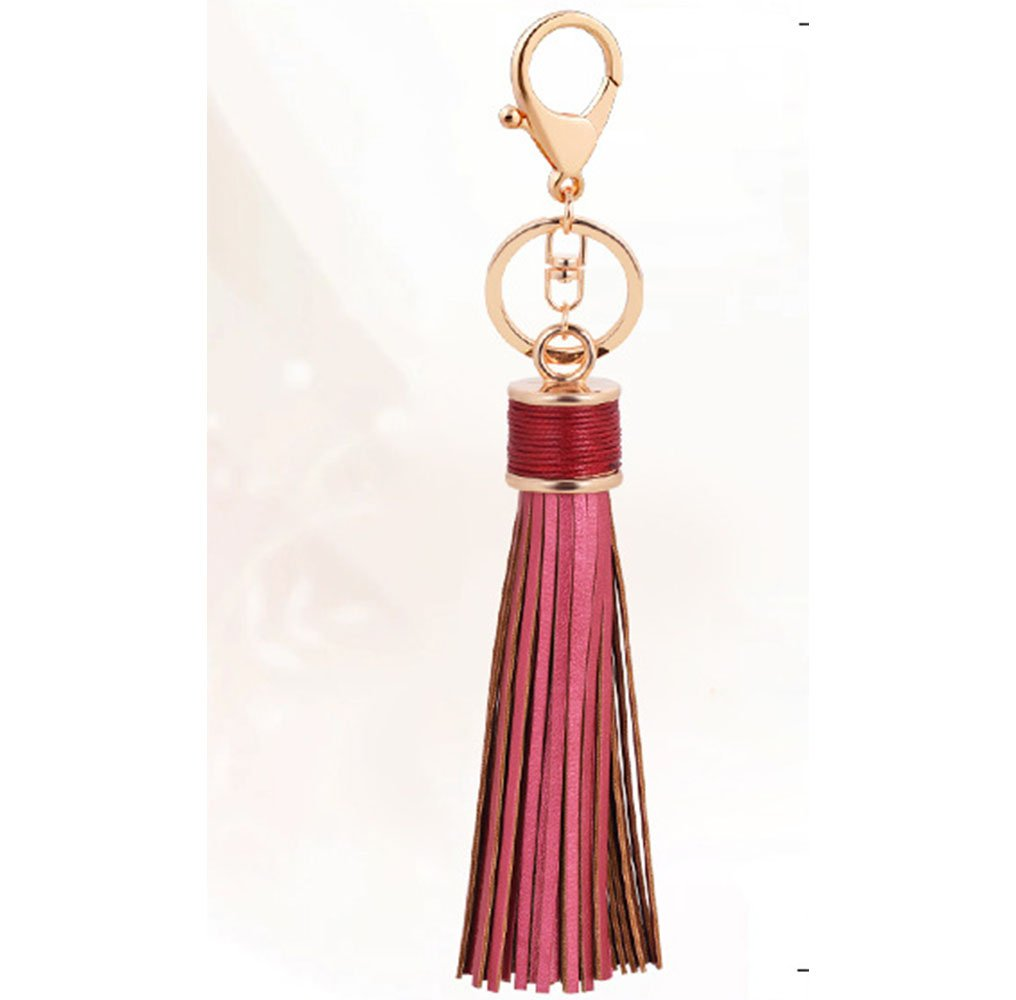 ZOONAI Women Leather Tassels Keychain Car Circle Key Rings Gift Bag Hanging Buckle