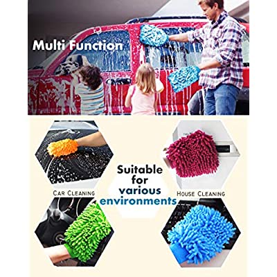 Aeroway Chenille Microfiber Premium Scratch-Free Car Wash Mitt - Double Sided, 4 Pack, 4 Color,Regular Size: Automotive