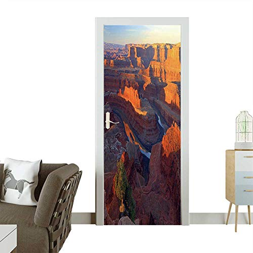 (Homesonne Waterproof Decoration Door Decals Sunrise Above The Colorado River,Utah,USA Perfect Ornament W30 x H80 INCH)