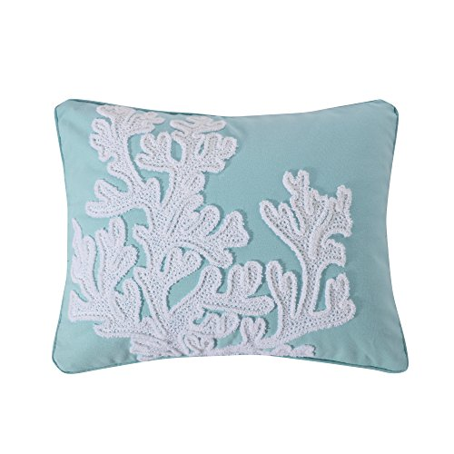 Levtex Icaria Crewel Stitch Coral Pillow, Blue/White, Coastal