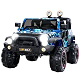 Uenjoy Kids Electric Power Wheels 12V Ride on Cars with Remote Control 2 Speed Camouflage blue