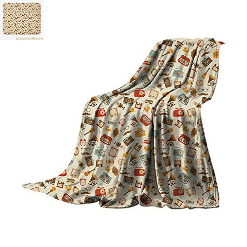 Vintage Digital Printing Blanket Retro Pattern Old Fashioned Icons Alarm Clock Typewriter Gramophone Radio Cassette Oversized Travel Throw Cover Blanket 50