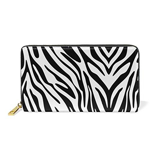 Zebra Print Checkbook Wallet - Real Leather Large Long Zipper Clutch Women Wallet with Zebra Stripes Phone Passport Checkbook Card Holder Handbag