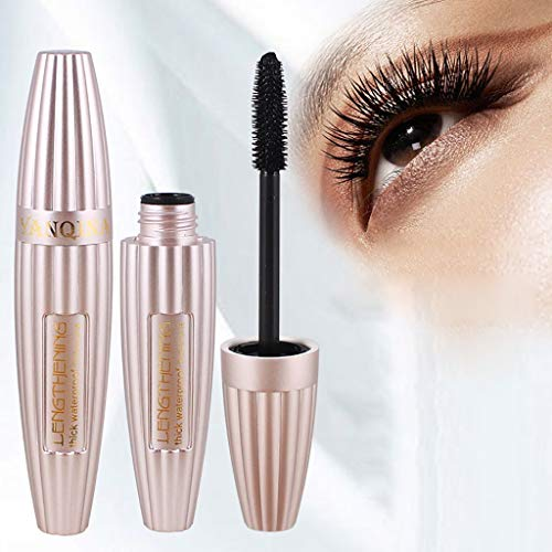 Natural 4D Silk Fiber Lash Mascara long-lasting Waterproof Mascara Thick Curling Mascara Smudge-Proof Eyelashes All Day Exquisitely Lush for weddings, dances, party (Black)