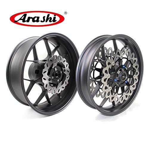 Arashi Front Rear Wheel Rim and Brake Disc Rotors for Honda CBR1000RR 2006-2016 Motorcycle Accessories CBR 1000 RR CBR1000 1000RR Matte Black 1 Set 2007 2008 2009 2010 2011 2012 - Rims Alloy Motorcycle