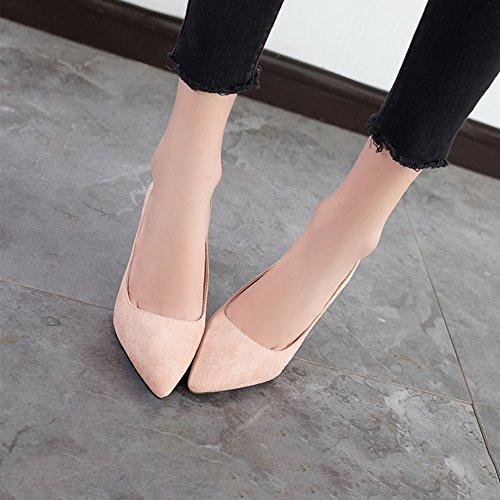 Señoras Fiesta Boda Medio Zapatos de Scrub Banquete Pink Nocturno PU 7CM Noche de Club Tacón de wPwxFCHq