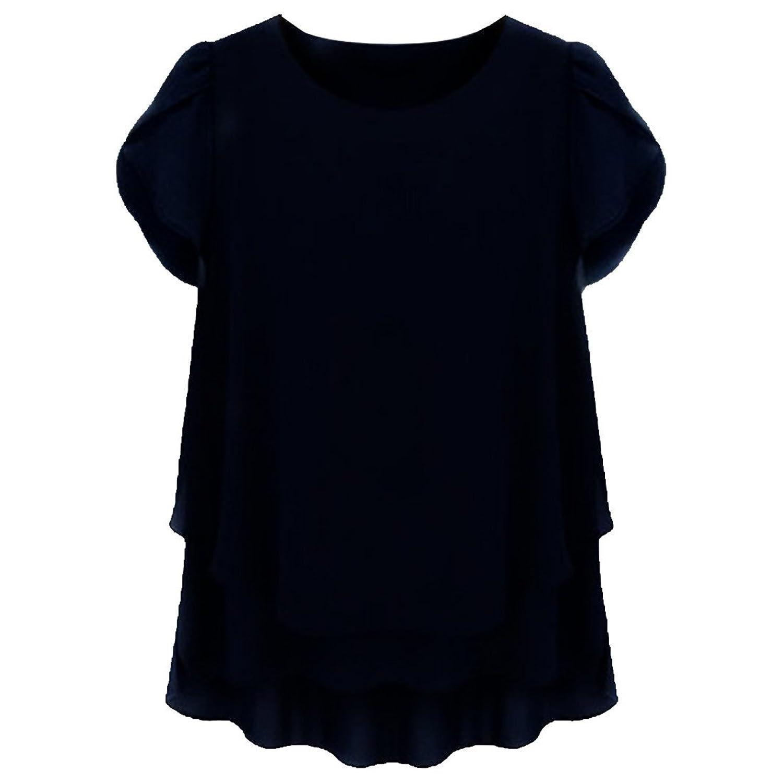 Partiss Damen Frauen U-Ausschnitt Kurzarm Plus Size Sommer Chiffon Bluse Kleid