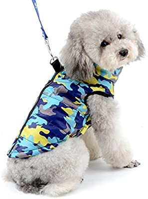 45a967e80cb9e SELMAI Camo Small Dog Cat Winter Coat Vest Jacket Padded Pet Puppy  Camouflage Costume with Harness Doggie Chihuahua Cold Weather Clothes Apparel  Blue L