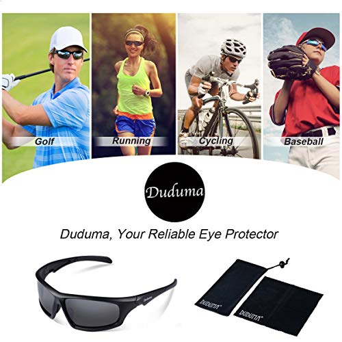 Duduma Tr639 Polarized Sports Sunglasses for Baseball Cycling Fishing Golf Superlight Frame (639 Black Matte Frame with Black Lens