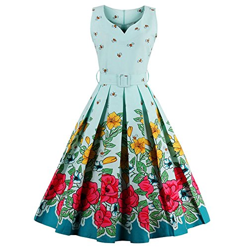 UPUPup vintage dresses cute party dress with sashes summer dress sleeveless vintage Light Green XL ()