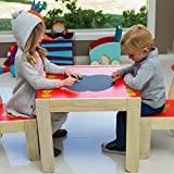 Labebe Kids Wood Table and 2 Chairs Set Study Activity Table Set-Red Apple