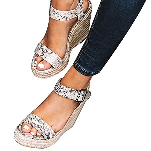 XMWEALTHY Women's Wedge Sandals Casual Sandals Shoes Summer Ankle Buckle Open Toe Wedges Heels Size 5.5 Snake