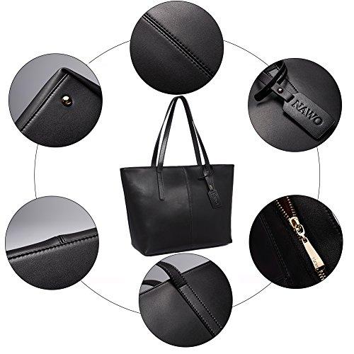 NAWO Women s Leather Designer Handbags Shoulder Tote Top-handle Bag Clutch  Purse Black ab96ab00333e3