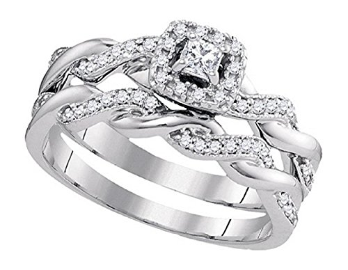 Twisted Diamond Wedding Ring (0.33 cttw 10k White Gold Princess Cut Diamond Halo Engagement Ring Twisted Bridal Wedding Band Set )