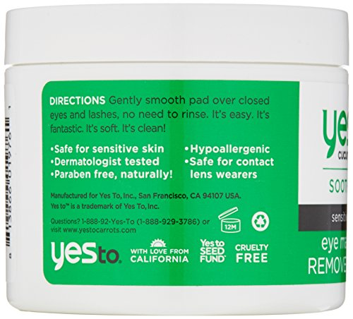 51UDqVOdHrL Yes To Cucumbers Eye Makeup Remover Pads, 45 Count