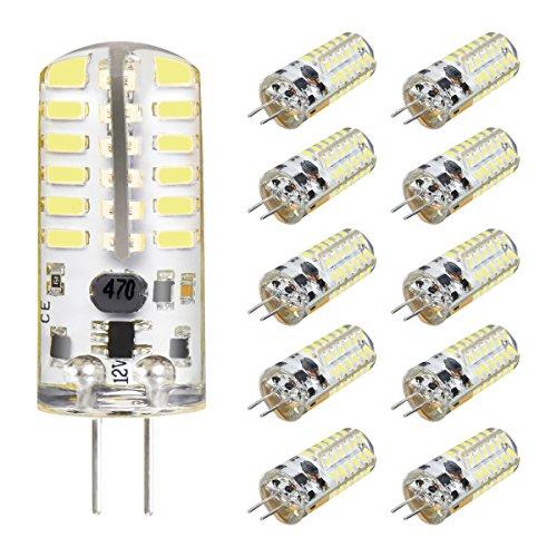 KINGSO G4 LED Bulb 10 Pack 3W Bi-Pin LED Light Bulb 48×3014 SMD 20W Halogen Bulb Equivalent Silicone Coated Shatterproof 220 Lumens 360° Beam Angle AC/DC 12V - Pure White