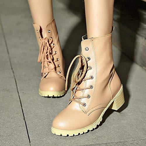 Stivali scarpe Paolian equitazione caldo Donna donne stivaletti combattere Med Cachi colore casual Solid Inverno d0zqz5