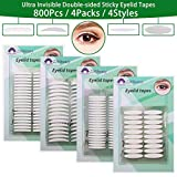 4 Pack Invisible Double-Side Sticky Eyelid Tapes Stickers, Medical-use Fiber Eyelid Strips, Instant