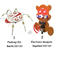GreenMoon Electronic Mosquito Repellent DIY Kit and Flashing LED Beetle DIY Kit Electronics Soldering Kit